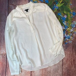 Ann Taylor White Popover Career blouse Size SP